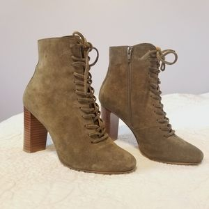Sezane Alicia Suede Lace-up Booties